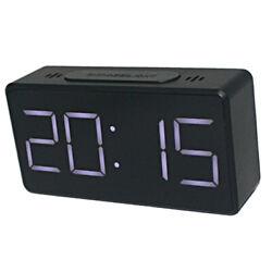 Digital LED Alarm Clock Snooze Table Electric Clock USB Port Temperature Display