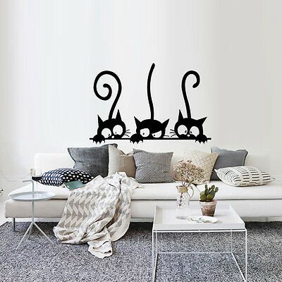 Three Black Cat Wall Vinyl Stickers Decal Mural Art Living Room Decor - Black Cat Decorations
