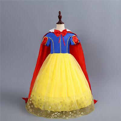 Snow Girl Halloween Costume (Kids Girl Snow White Princess Dress Halloween Cosplay Costume Party)