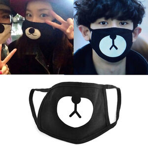 Black Cycling Anti-Dust Healthy Cotton Cute Bear Mouth Face Mask Respirator