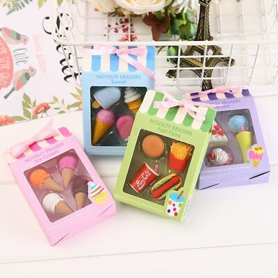4pcs Creative Cute Food ice Cream Cake Drink Eraser School Set Stationery - Food Erasers
