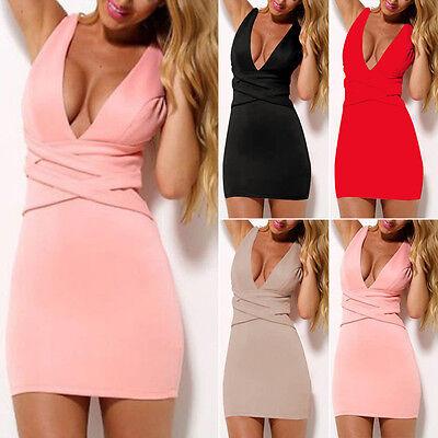 Sexy Damen V-Ausschnitt Bodycon Kleid Club Partykleid Kurz Minikleid