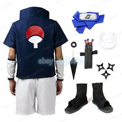 Naruto Outfits (Naruto Uchiha Sasuke Cosplay Costume Whole Set X'mas Gift Men Kid's)