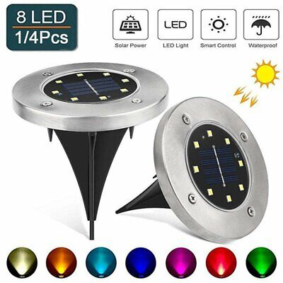8LED Solar Light Color-Changing Ground Buried Garden Lawn Deck Path Outdoor Lamp Earth Garden Path
