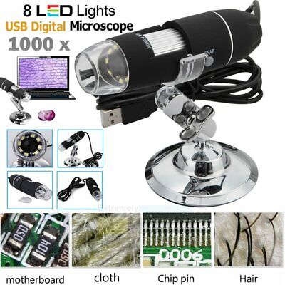 2mp 500x 8 Led Usb Digital Microscope Endoscope Zoom Camera Magnifier Stand