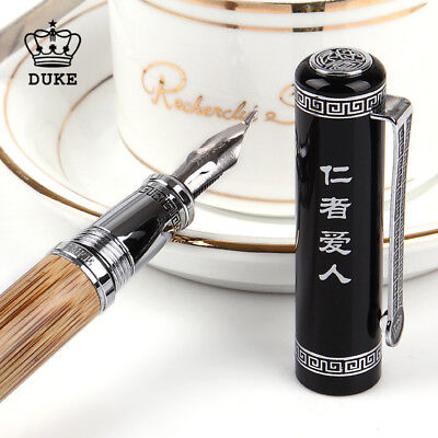 Duke 551 Confucius Fude Nib Fountain Pen, Nature Bamboo Medium to Broad Bent Nib