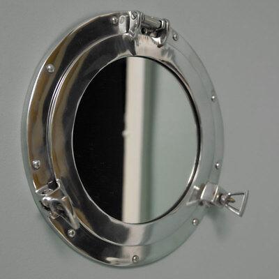 Metal Plateado Portilla Náutico Pared Espejo Envejecido Vintage Chic Baño Hogar