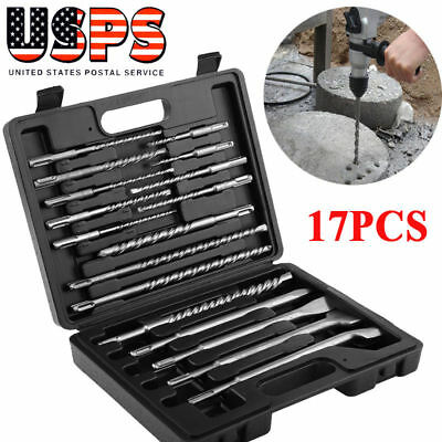 17pcs Rotary Hammer Drill Sds Plus Bits Chisel Set Concrete Fits For Hilti