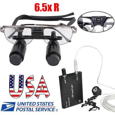 6.5x Metal Dental Loupes Surgical Medical Binocular Magnifier Led Headlight Clip