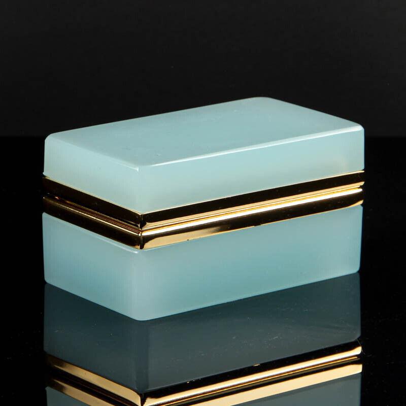 Vintage French opaline box casket golden polished metal rectangular light petrol