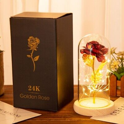 Stem Rose Dipped And LED Light String In Glass Dome On Wooden Base The Best Gift Floral Décor