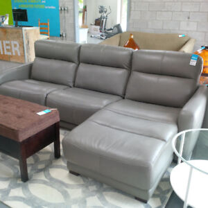 Brand New leather sofa with extendable footrest $1300