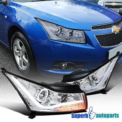 2011-2014 Chevy Cruze LED DRL Light Strip Halo Projector Headlights Chrome SpecD