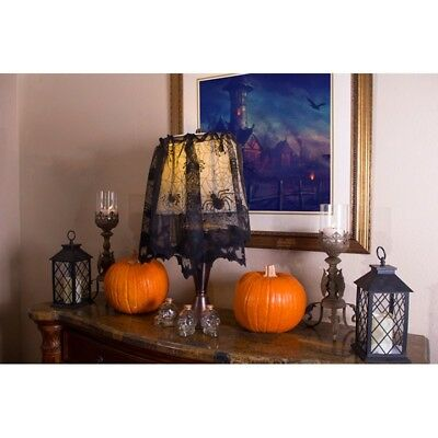 Halloween Tombstones Designs (Spiders & Bats Design Blk Poly Lace Lamp Cover / Window Swag Halloween Decor)