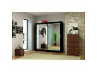 🔵💖🔴DOOR BUSTER SALE🔵💖🔴BERLIN 2 DOOR SLIDING WARDROBE FULL MIRROR SHELVES & DRAWERS