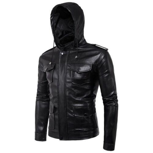 Mens Black Genuine Leather BOMBER JACKET Flight Coat Motorcycle Biker Lined New