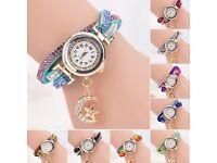 Women Crystal Wrist Watch Band Wave Bracelet Dial Quartz Analog Wrap Watch cheap