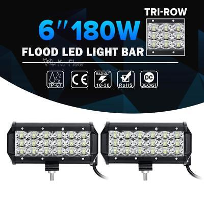 2X Tri-Row 6Inch 180W Cree Led Work Light Bar FLOOD Offroad Driving 4WD Truck 7""