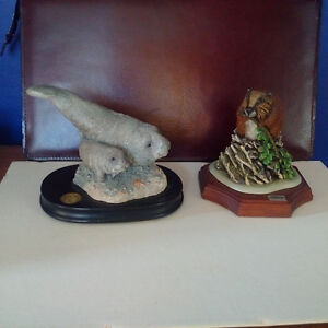 2 Wildlife Sculptures, Manatee and Calf and Beaver, COA attached Kingston Kingston Area image 1
