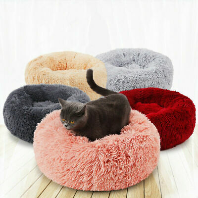 Pet Dog Cat Round Nest Warm Soft Plush Comfortable Calming Mat Bed for - Dog Soft Round Bed