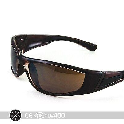 Brown Sport Sunglasses Golf Running Wrap Around Mirror RV Lens Free Case S133