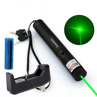 50Miles Powerful Assassin Green Laser Pointer Pen 5mw 532nm+Battery+Charger US