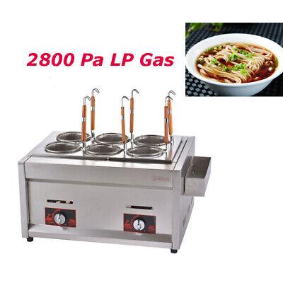 Intbuying Lp Gas Desktop Noodle Cooker Commercial Pasta Cookers 6 Holes