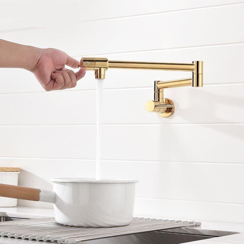 Details about Modern Gold Brass Pot Filler Wall Mounted Kitchen Faucet Dual  Handles