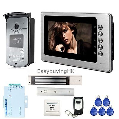 "7"" Wired Video Doorphone Intercom Kit+1 RFID Access Outdoor Camera+Lock+Remote"