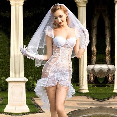 Weiße Mesh Sexy Dessous Frauen Babydoll Braut Hochzeit Kleid Rollenspiel Kostüm