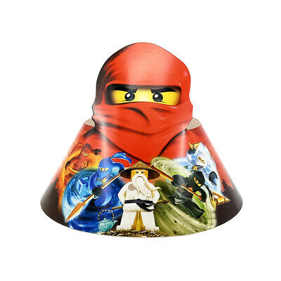 6pcs Ninjago Ninja Theme Party Paper Cap Hat With Elastic Band for Kids Boy - Themes For Boy Parties
