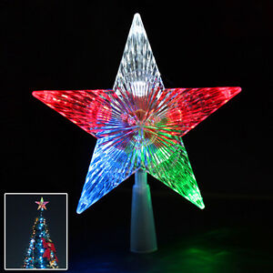 Battery Operated Christmas Tree Topper Star Colour Changing LED Light Decoration