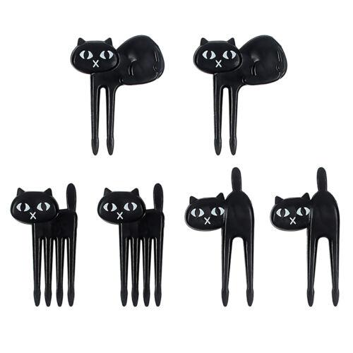 6PCS Japanese Black Cat Children Fruit Forks Food Pick nice Party Bento Cut G5L1