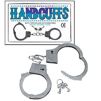 New Dazzling Toys Kids Metal Double Lock Handcuffs With Keys Army Police Pretend
