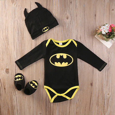 Baby Batman Outfit (Newborn Toddler Baby Boy Batman Romper Shoes Hat 3Pcs Clothes Outfit Costume)