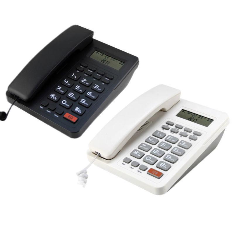 Black/White Desk Top Corded Home Phone Landline Telephone Ca