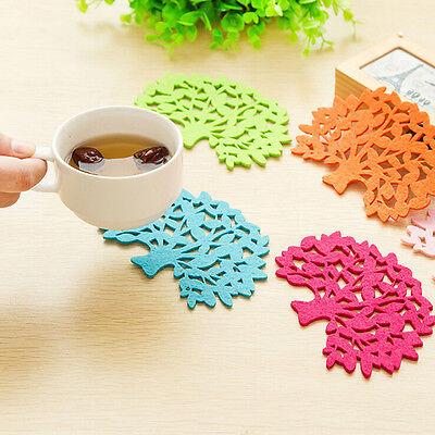 2 Pcs Colorful Tree Shape Felt Coaster Cup Mat Pad for Bowl Mug Glass Plate P*CA
