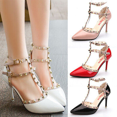 Sexy Women Party Shoes Rivets Strap Stiletto Pointed-toe High Heel Shoes Sandals ()