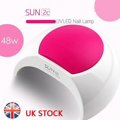 48W SUN2C LED UV Nail Lamp Light Gel Polish Cure Nail Dryer UV Lamp UK Plug