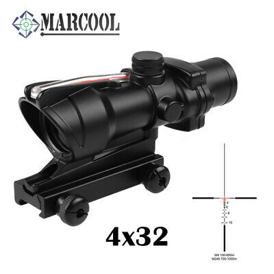 Rifle Scope ACOG 4X32 Optics Sight Tactical Reticle Real Red Fiber For Hunting