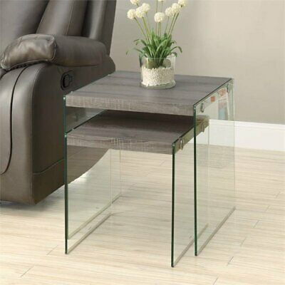 Pemberly Row 2 Piece Glass Nesting Table Set in Dark Taupe