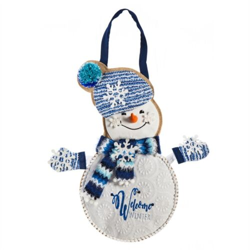 Winter Snowman Door Decor 2DHB1332 Evergreen Door Hanger