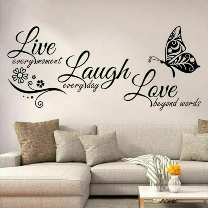 Live Laugh Love Quotes Butterfly Wall Stickers Art Living Ro