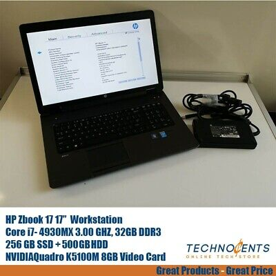 HP ZBOOK 17 CORE I7-4930MX 3.0GHz 32GB 256 SSD + 500 GB HDD NVIDIA Quadro K5100M