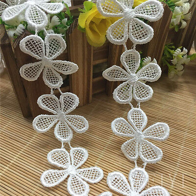 1m Vintage Polyester Guipure Lace Trim Flower Daisy Embroidered Applique - Polyester Daisy
