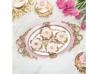Luxury rose pink iron trays/cup cake stand