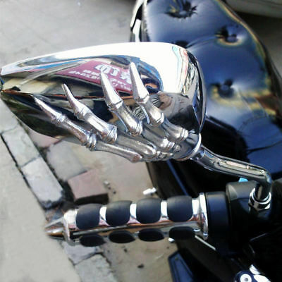 Skeleton Skull Hand Claw Motorcycle Mirrors Chrome 8mm 10mm For Honda Suzuki US - Skull Hand