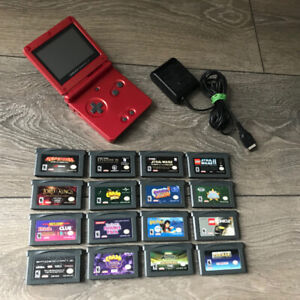 Nintendo Game Boy Advance SP Red System Console with 16 games