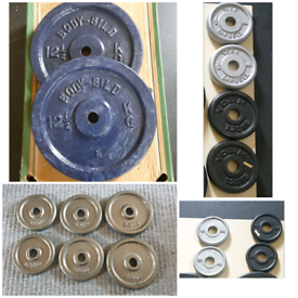 Weight plates set, cast iron, for home gym fitness training