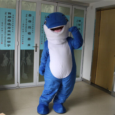 Face Show Adult Cartoon Dolphin Mascot Costume Walking Party Animal Cosplay Suit (Dolphin Costume)